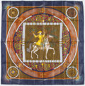 "Luxury Accessories:Accessories, Hermes 90cm Navy & Olive ""Feux d'Artifice,"" by Michel DucheneSilk Scarf. ..."