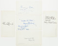 Autographs:Authors, Group of Five American Authors' Signatures including MargaretDeland, Fannie Hurst, Kathleen Norris, Mary Robe...