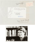 "Autographs:Celebrities, Margaret Mead Photograph Signed. 7"" x 5"". The famed anthropologistis seen in this black and white photo standing in front o..."