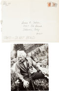 "Autographs:Authors, Leon Uris Inscribed Photograph Signed. 8"" x 10"". The Americannovelist is seen sitting in the mountains, a dog leash draped ..."
