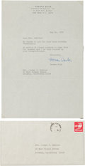 """Autographs:Authors, Herman Wouk Typed Letter Signed. One page, 7.25"""" x 10.5"""", on hispersonal letterhead, New York, May 31, 1947, to Mrs. Joseph..."""