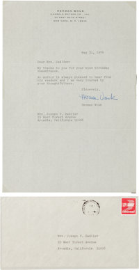 """Herman Wouk Typed Letter Signed. One page, 7.25"""" x 10.5"""", on his personal letterhead, New York, May 31, 1947..."""