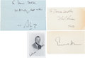 "Autographs:Authors, [Authors]. Group of Four Authors' Signatures including: Neil Simon Card Signed. 5"" x 3"". Simon is an American playwright..."