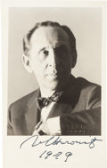 """Autographs:Celebrities, Vladimir Horowitz Photograph Signed. Measuring 3.5"""" x 5.5"""", thefamed pianist and composer is seen in a chest up portrait, l..."""