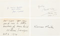 "Autographs:Authors, [Authors]. Group of Four Authors' Signatures including: NormanMailer Card Signed. 5"" x 3"". [and:] John Updike Inscrib..."