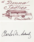 """Autographs:Artists, Charles M. Schulz and Eric Sloane: Two Signed Cards. The first, by landscape painter Eric Sloane, measures 5"""" x 3"""" and featu..."""