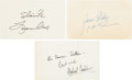 "Autographs:Authors, [Authors]. Group of Three Authors' Signatures including: MichaelCrichton Inscribed Card Signed. 5"" x 3"". In full: ""Fo..."