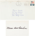 "Autographs:Authors, First Lady Mamie Eisenhower Card Signed. 4.25"" x 3"". With the original transmittal envelope postmarked March 17, 1972.. ..."