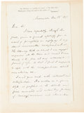 """Autographs:Authors, Facsimile of a Washington Irving Autograph Letter Signed. Two pages with integral blank, 5.25"""" x 8.25"""", Sunnyside [New York]..."""