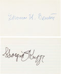 """Autographs:Artists, [Artists]. Thomas H. Benton and Georgia O'Keeffe: Two Signed Cards. The first measures 5"""" x 3"""" and features the signature of..."""