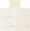 "Autographs:Statesmen, Edward Everett Autograph Letter Signed and related documents. Fourintegral pages, 4.75"" x 7.25"", Boston, November 4, 1857, ..."