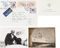 "Jacques-Yves Cousteau Photograph Signed. Measuring 4.5"" x 3.5"", the famed French oceanographer is seen emergin..."