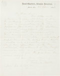 """Autographs:Military Figures, Confederate General Howell Cobb Autograph Letter Signed. One page, 7.5"""" x 9.5"""", on Head-Quarters, Georgia Reserves letterhea..."""