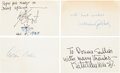 "Autographs:Authors, [Authors]. Group of Four Authors' Signatures including: Arthur Miller Card Signed. 5"" x 3"". [and:] Kathleen Winsor Ins..."