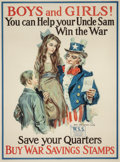 "Fine Art - Work on Paper:Print, JAMES MONTGOMERY FLAGG (American, 1877-1960). ""Boys and Girls!You Can Help Your Uncle Sam Win the War!,"" World War I recr..."