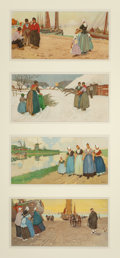 Fine Art - Work on Paper:Print, Henri Cassiers (Belgian, 1858-1944). Dutch Genre Scenes (four panels). Lithograph in colors. 8-1/2 x 16-3/4 inches (21.6...