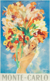 JEAN-GABRIEL DOMERGUE (French, 1889-1962) Monte Carlo and Bather (two works) Color poster