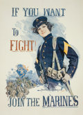 "Prints, HOWARD CHANDLER CHRISTY (American, 1872-1952). ""If You Want to Fight!,"" U.S. Marines recruiting poster, 1915. Color post..."