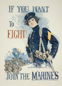 "HOWARD CHANDLER CHRISTY (American, 1872-1952) ""If You Want to Fight!,"" U.S. Marines Recruiting Poster"
