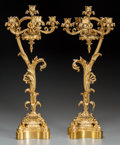 Decorative Arts, French:Lamps & Lighting, A PAIR OF LOUIS XV-STYLE GILT BRONZE SIX-LIGHT CANDELABRA, circa1900. 26 inches high (66.0 cm). ... (Total: 2 Items)