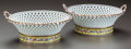 Ceramics & Porcelain, A PAIR OF SEVRES RETICULATED PORCELAIN BASKETS, circa 1800. Marks: RF. dc, Sevres. 5 inches high x 11-1/2 inches diamete... (Total: 2 Items)