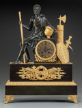 Clocks & Mechanical, A FRENCH MARBLE, GILT AND PATINATED BRONZE FIGURAL MANTLE CLOCK, circa 1850. Marks to suspension bracket: E. Pannard Stell...
