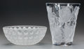 Art Glass:Lalique, LALIQUE ISPAHAN VASE AND NEMOURS BOWL, post 1945.Marks to both: Lalique, France. 9-1/2 inches h... (Total: 2Items)
