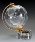 Art Glass:Other , A CUT AND FROSTED GLASS AND BRASS GLOBE, circa 1990. 12-1/2 incheshigh (31.8 cm). ...