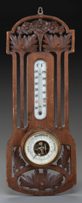 Miscellaneous, A DUTCH JUGENDSTIL CARVED WOOD BAROMETER, Late 19th century. Marks:VERANDERLYK. 19 x 7 inches high (48.3 x 17.8 cm). ...