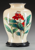 Asian:Japanese, A JAPANESE CLOISONNÉ AND SILVER VASE ON WOOD STAND, circa 1900.13-1/4 inches high (33.7 cm) (including stand). ... (Total: 2Items)