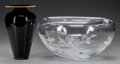 Art Glass:Other , A HOYA CLEAR AND FROSTED GLASS BOWL AND A JAPANESE GLASS VASE, circa 1990. Marks to bowl: HOYA. 8 inches high (20.3 cm) ... (Total: 2 Items)