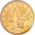 Liberty Double Eagles, 1870-CC $20 AU50 PCGS. Variety 1-A....