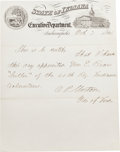 Autographs:Statesmen, Governor Oliver P. Morton Autograph Appointment Signed...