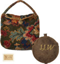 Military & Patriotic:Civil War, Model 1858 Smooth-Face Canteen and Carpet Bag Identified to Joseph J. Woodward, E Company, Pennsylvania 140th Infantry, Killed...