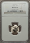 Roosevelt Dimes, 1998-P 10C MS69 Full Torch NGC....