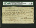Colonial Notes:Continental Currency, Continental Loan Office Fourth Bill of Exchange $18 September 20,1780 Anderson US-95/NH-6A PMG Choice Extremely Fine 45 EPQ....