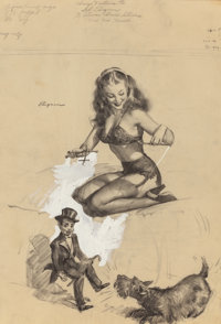 GIL ELVGREN (American, 1914-1980) They're Easy To Handle When You Know How, Brown & Bigelow calendar illustrati...