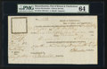 Colonial Notes:Massachusetts, Massachusetts Port of Boston and Charlestown Delivery Receipt July28, 1782 PMG Choice Uncirculated 64.. ...