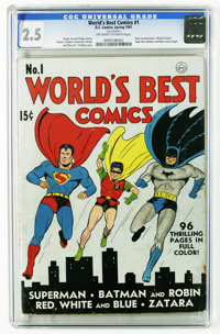 World's Best Comics #1 (DC, 1941) CGC GD+ 2.5 Off-white to white pages. Superman, Batman, and Robin covers begin with th...