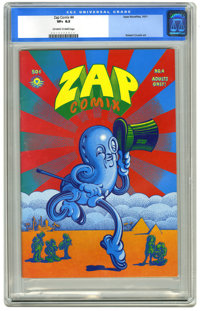 Zap Comix #4 (Apex Novelties, 1969) CGC VF+ 8.5 Off-white to white pages. Wraparound cover art by Victor Moscoso. Robert...