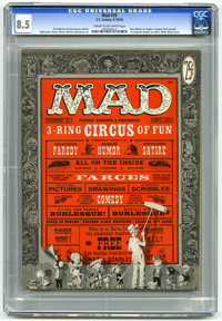 Mad #29 (EC, 1956) CGC VF+ 8.5 Cream to off-white pages. Wally Wood cover art. Al Feldstein begins as editor. Don Martin...