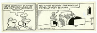 Dik Browne - Hagar the Horrible Daily Comic Strip Original Art, dated 4-13-87 (King Features, 1987). Talk about overstay...