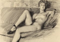 Pin-up and Glamour Art, GIL ELVGREN (American, 1914-1980). Reclining Nude in Heels.Charcoal on vellum. 17.75 x 24.25 in. (sheet). Not signed. ...