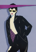 Paintings, PATRICK NAGEL (American, 1945-1984). Sunglasses and Leather. Acrylic on board. 25 x 17.5 in. (sheet). Signed lower right...