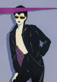 PATRICK NAGEL (American, 1945-1984) Sunglasses and Leather Acrylic on board 25 x 17.5 in. (sheet)
