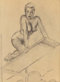 Pin-up and Glamour Art, GIL ELVGREN (American, 1914-1980). High and Shy, Brown &Bigelow calendar preliminary illustration, circa 1950. Pencilo...