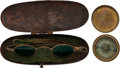 Military & Patriotic:Civil War, Civil War Cased Brass-Frame Sun Glasses and Brass Pocket Compass....