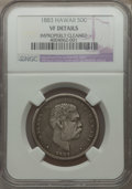 Coins of Hawaii: , 1883 50C Hawaii Half Dollar -- Improperly Cleaned -- NGC Details.VF. NGC Census: (5/487). PCGS Population (11/711). Mintag...