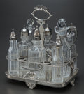 Silver Holloware, British:Holloware, A GEORGE III SILVER AND CUT-GLASS CRUET SET, London, England, circa1808-1809. Marks: (lion passant), (leopard's head crowne...