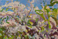 NIKOLAI MODOROV (Russian, 1927-1989) Purple Blossoms and Blue Skies, 1976 Oil on board 13-1/2 x 1